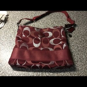 Coach File Bag in red/silver